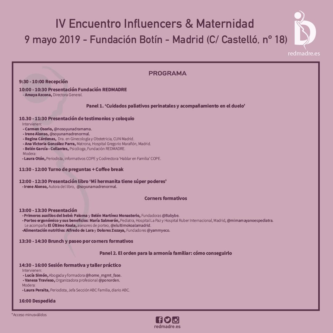 9 de mayo IV Encuentro REDMADRE Influencers & Maternidad